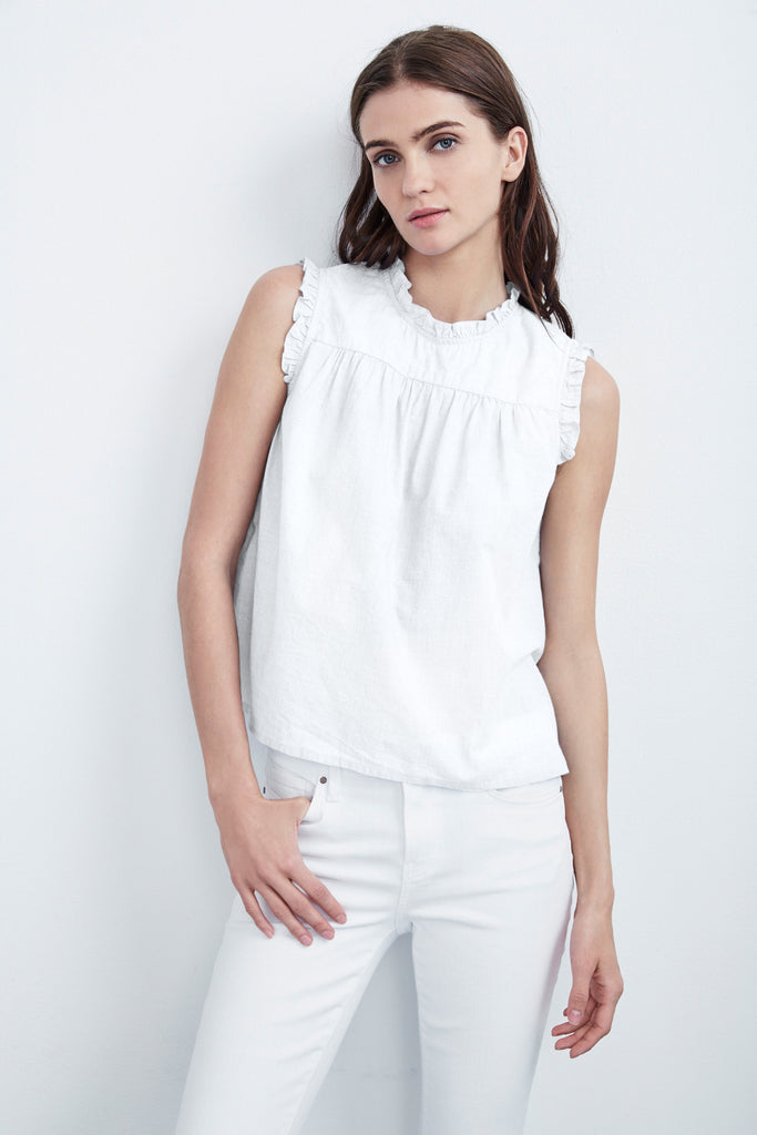 CHENILLE COTTON POPLIN RUFFLE TOP IN WHITE