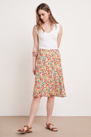 AILA PRINTED CHALLIS SKIRT IN BLOSSOM