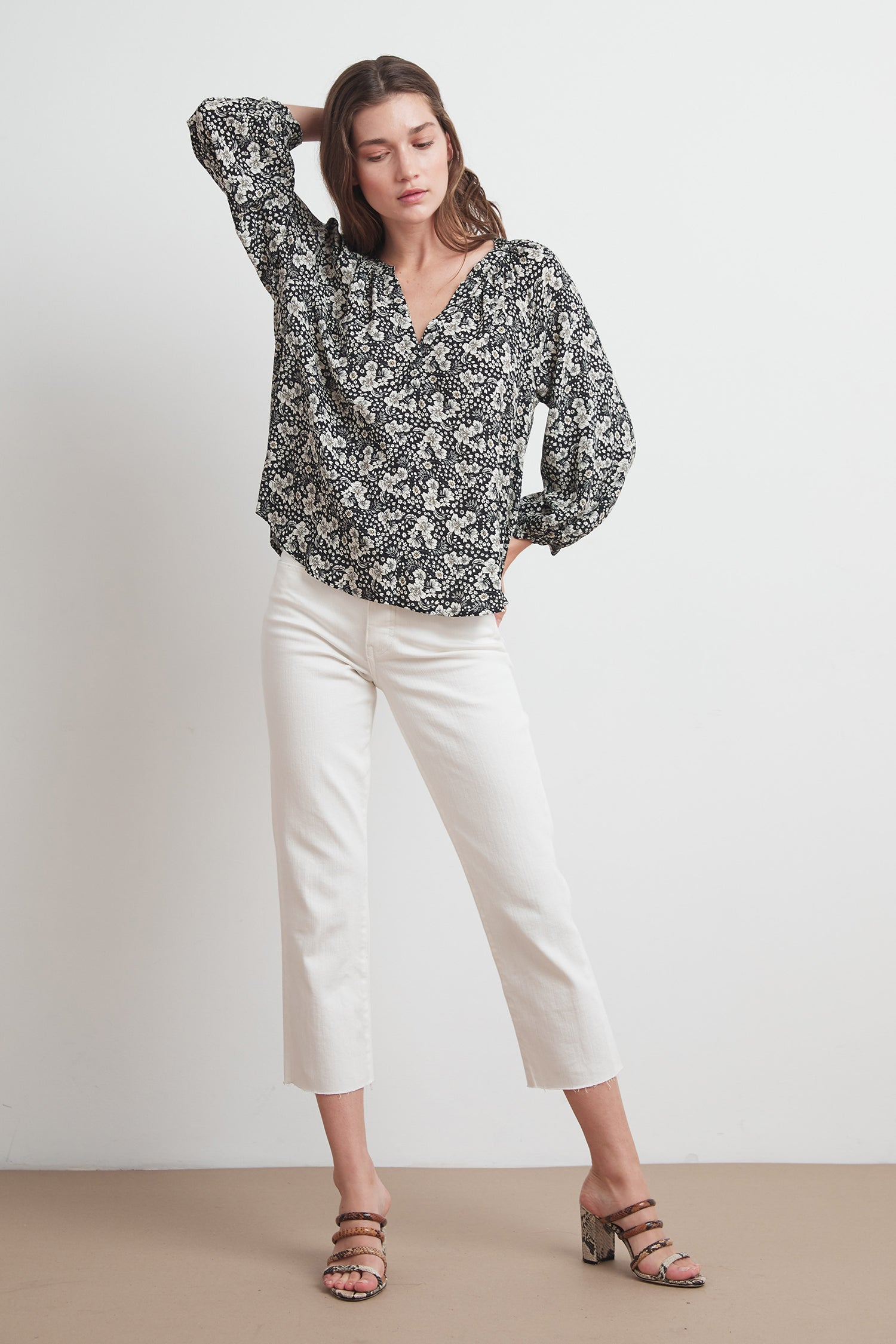 BRIANA PRINTED CHALLIS BLOUSE IN CROCUS
