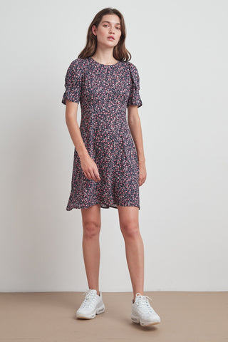 CHARLIE PRINTED CHALLIS DRESS IN AZALEA