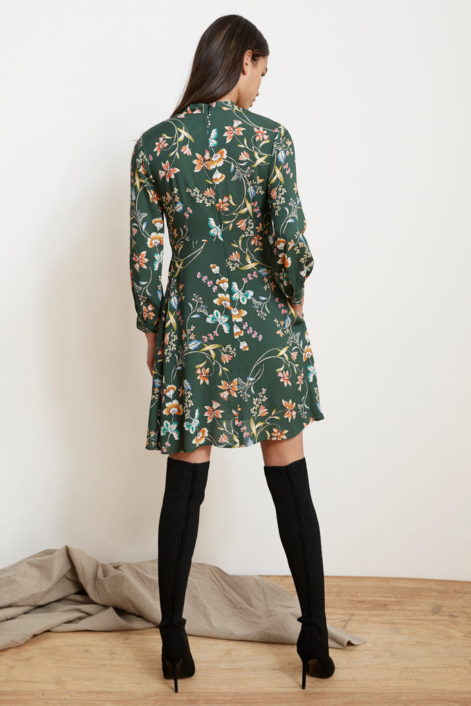 JULIET PRINTED FLORAL MOCK NECK DRESS IN ZINNIA