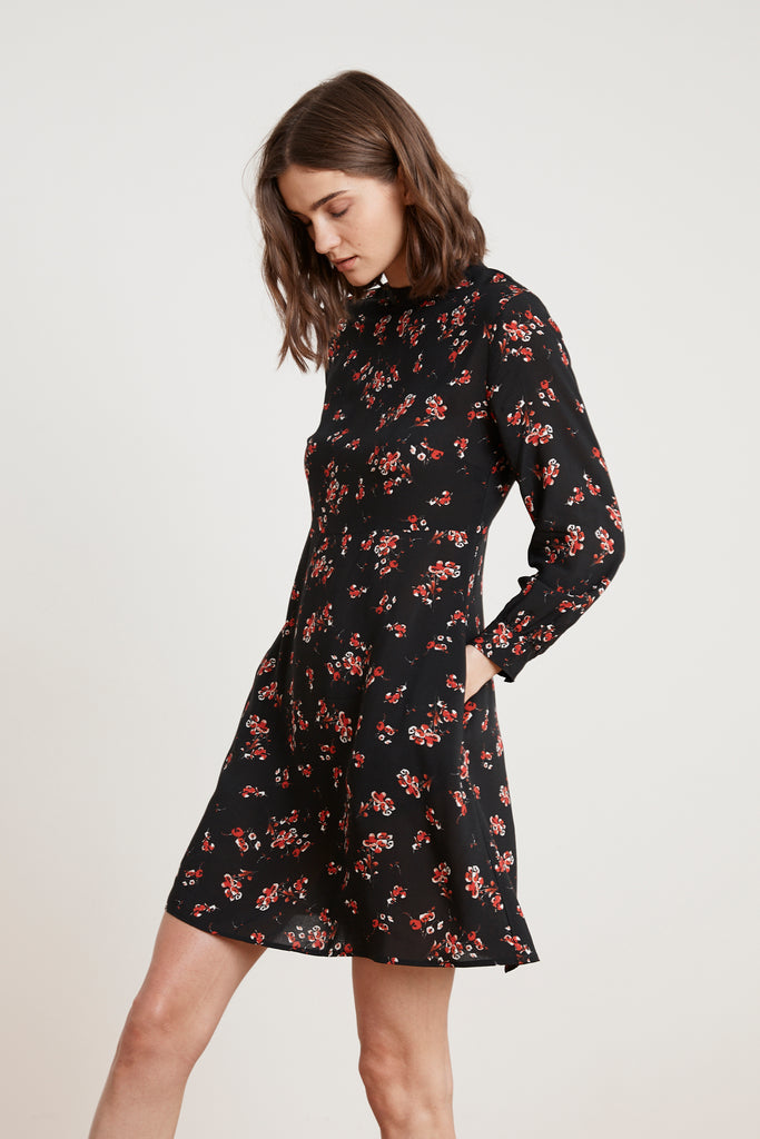 JULIET PRINTED FLORAL MOCK NECK DRESS IN CHERRY BLOSSOM