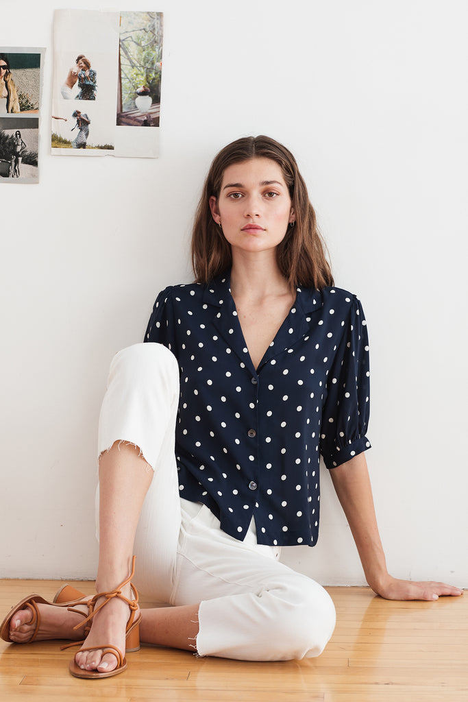 KADEN BUTTON UP BLOUSE IN POLKA DOT