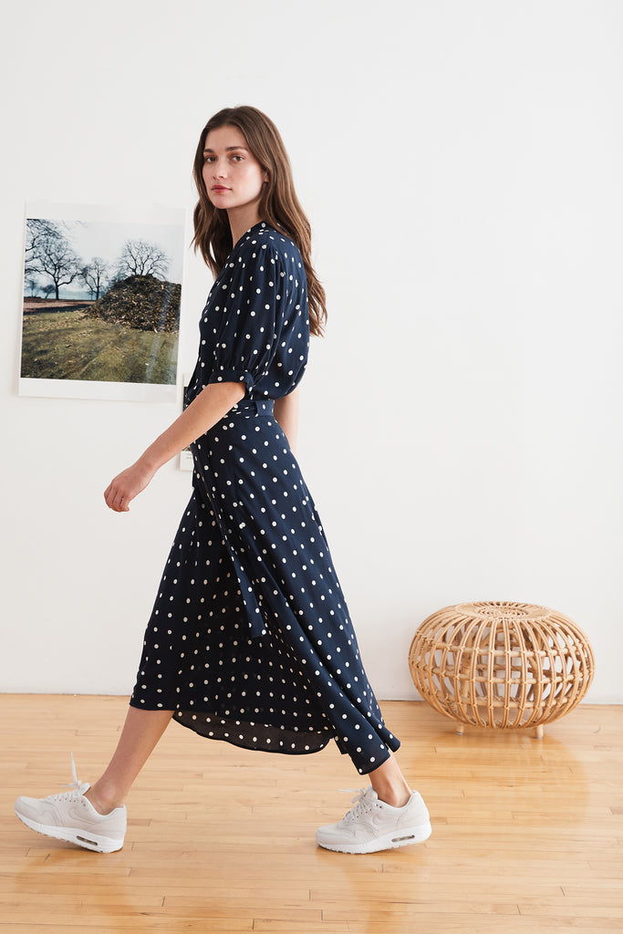OLIVE CHALLIS MIDI SKIRT IN POLKA DOT