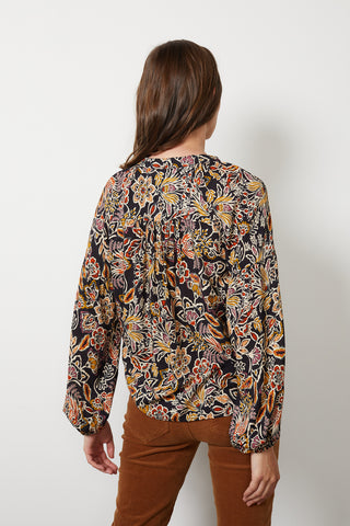 LILIAN PRINTED CHALLIS PEASANT BLOUSE IN FIREGLOW
