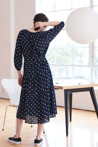 MADDY CHALLIS DRESS IN POLKA DOT