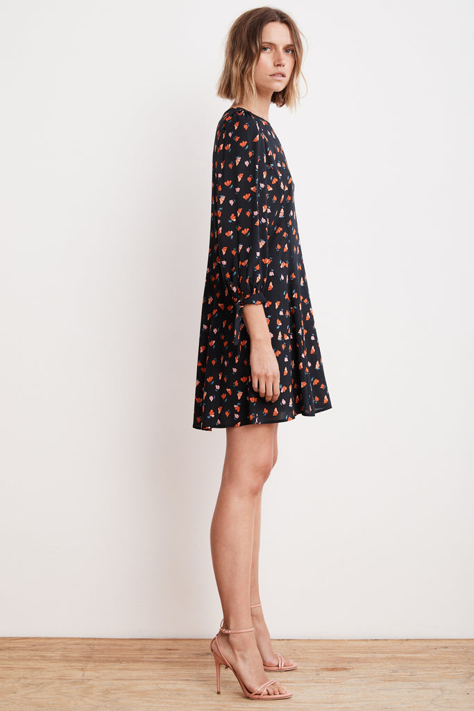 MARNITA PRINTED CHALLIS TIE SLEEVE DRESS IN TULIP