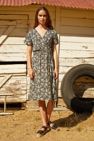 RONA PRINTED CHALLIS WRAP DRESS IN CROCUS
