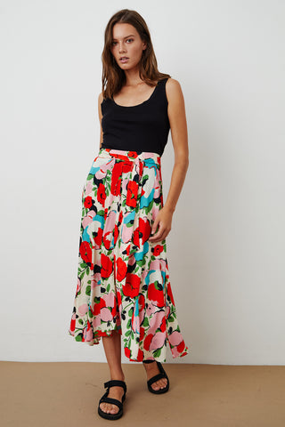 SWAN HIGH LOW SKIRT IN POSEY PRINT