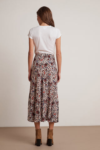 WILLA PRINTED CHALLIS SKIRT IN LEAF