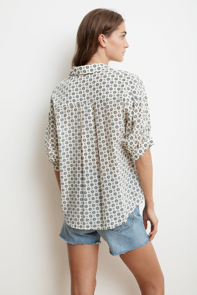 DORY PRINTED COTTON VOILE SHORT SLEEVE BUTTON-UP IN CRESCENT