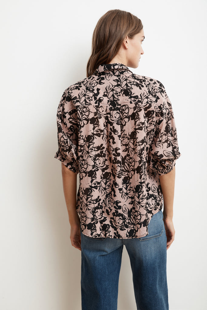DORY PRINTED COTTON VOILE SHORT SLEEVE BUTTON-UP IN VINTAGE ROSE