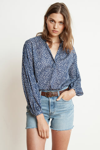 ERIKA PRINTED COTTON VOILE HALF-PLACKET BLOUSE IN HUDSON