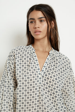 ERIKA PRINTED COTTON VOILE HALF-PLACKET BLOUSE IN CRESCENT