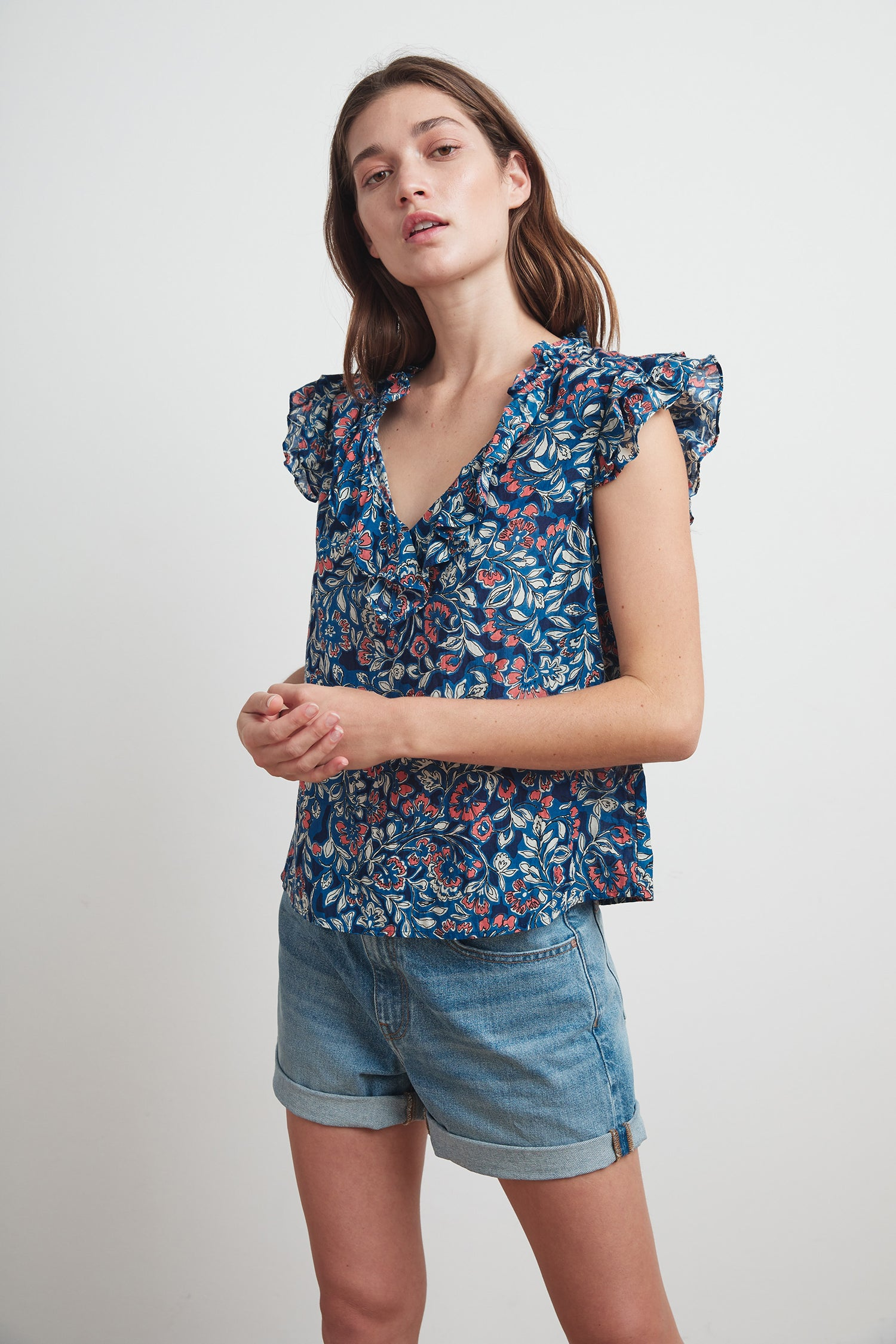 NOLITA PRINTED VOILE RUFFLE TOP IN HENNA