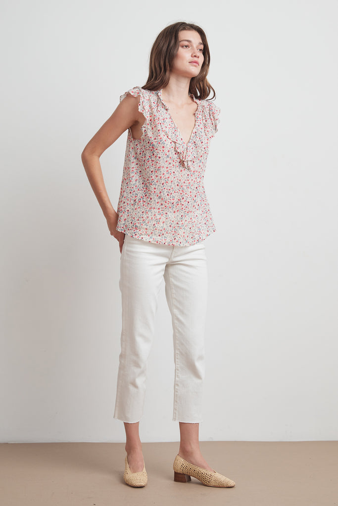 NOLITA PRINTED VOILE RUFFLE TOP IN POPPY