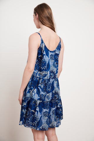 ZAHARA PRINTED COTTON VOILE DRESS IN EMPIRE