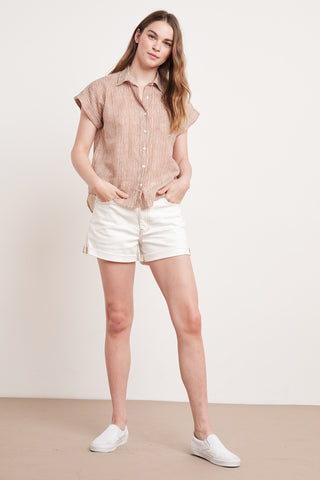 ALETA PRINTED STRIPE TOP IN TAN NATURAL