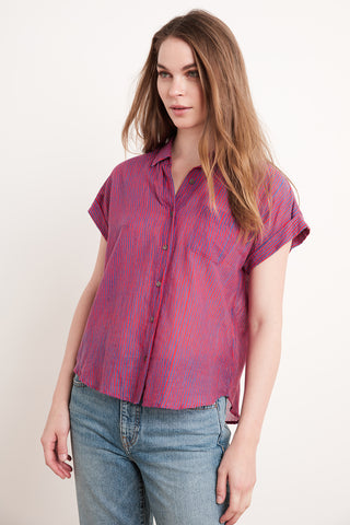 ALETA PRINTED STRIPE TOP IN RED BLUE