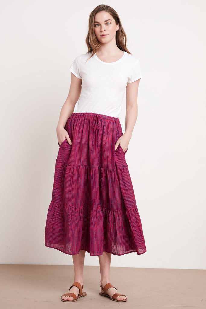 DINA PRINTED STRIPE SKIRT IN RED/BLUE
