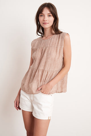 TATUM PRINTED STRIPE TOP IN TAN/NATURAL