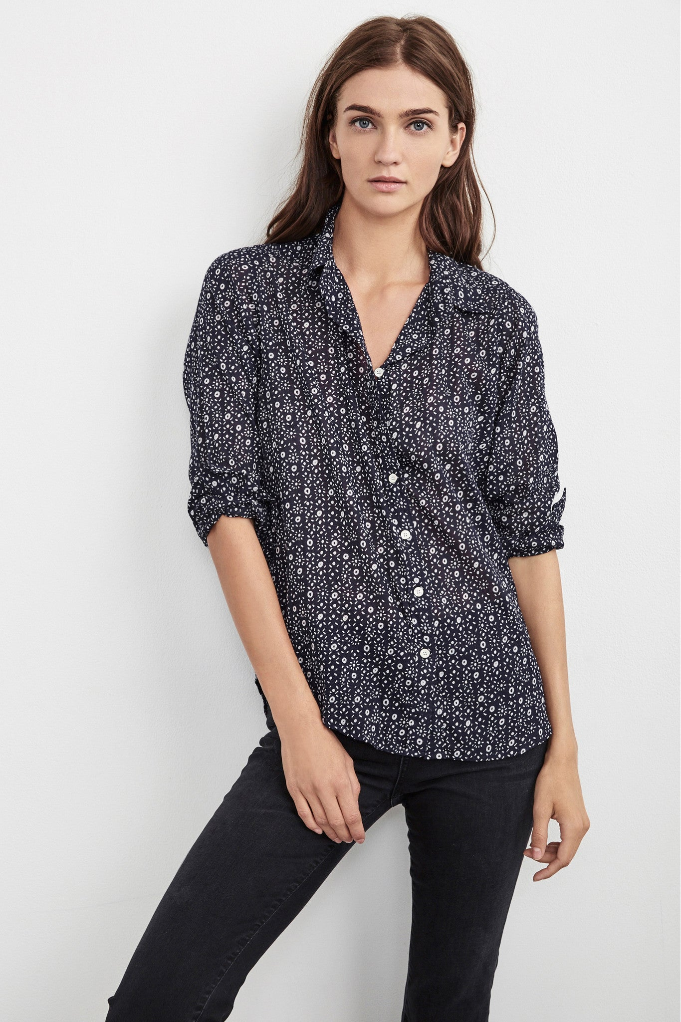EMERY COTTON BUTTON-UP SHIRT IN PRINTED NAVY