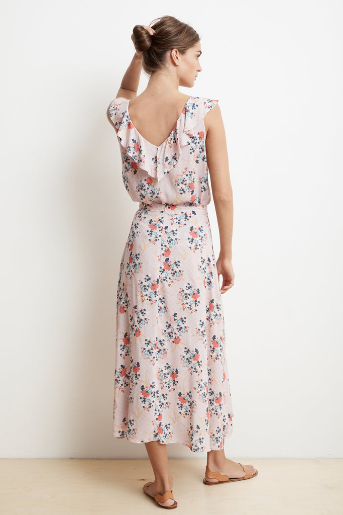 ISADORA FLORAL PRINT CHALLIS WRAP SKIRT IN PINK FLORAL