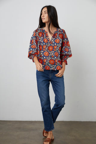 MILLIE PRINTED BOHO BLOUSE IN POMEGRANATE
