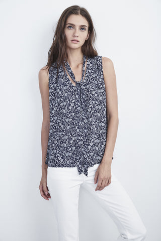 ANNALINE TIE NECK SLEEVELESS TOP IN BERGONIA