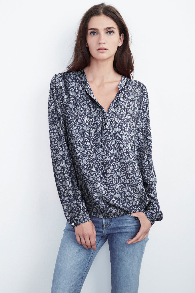 JENA HALF-PLACKET CHALLIS TOP IN BLUE BEGONIA