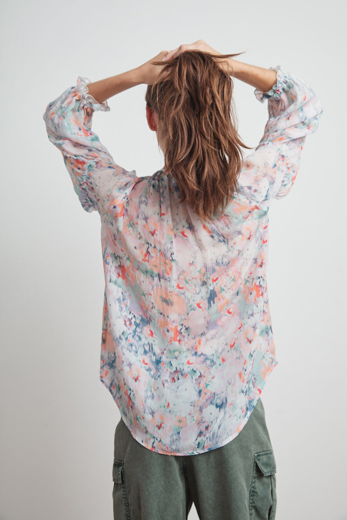 JESSA PRINTED VISCOSE PEASANT BLOUSE IN WATERCOLOR PRINT
