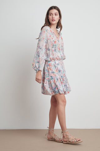 LEAH PRINTED VISCOSE PEASANT DRESS IN WATERCOLOR PRINT