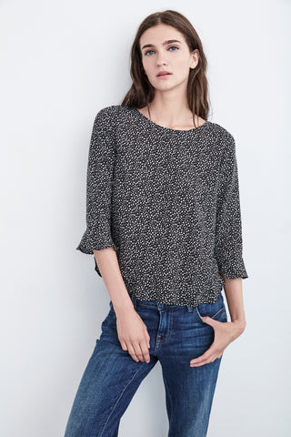 DYA DOTTED PRINT CHALLIS TOP IN BLACK SNOW