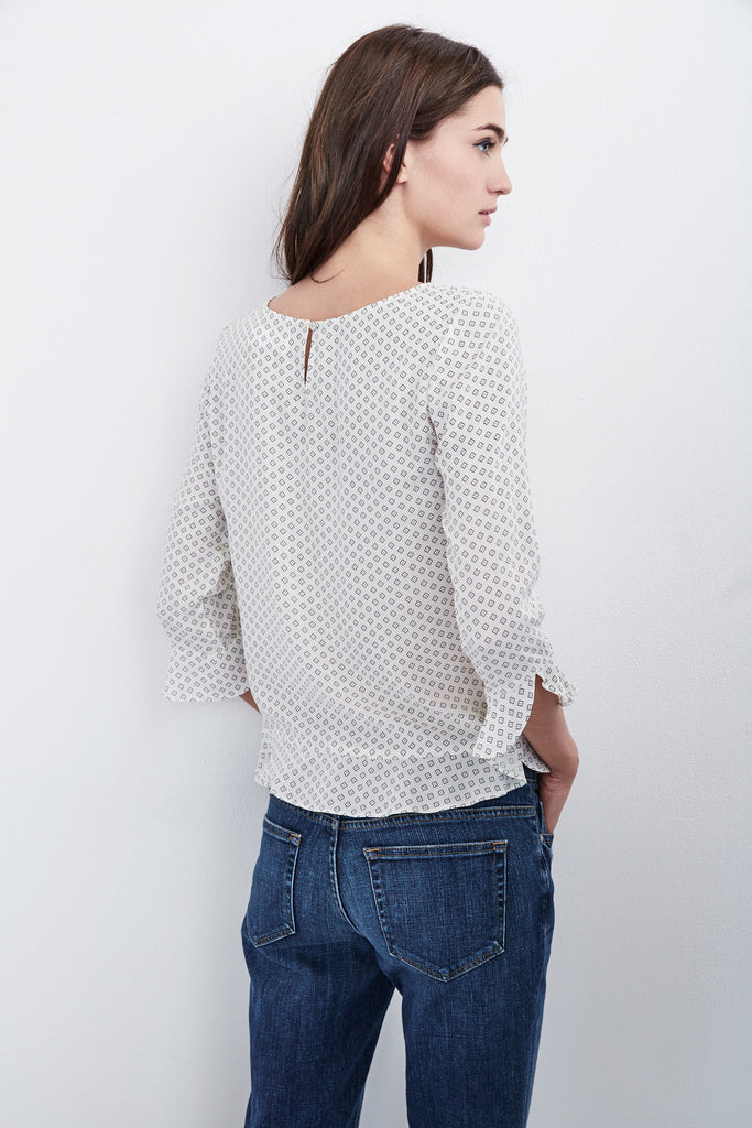 DYA DOTTED PRINT CHALLIS TOP IN GINGER