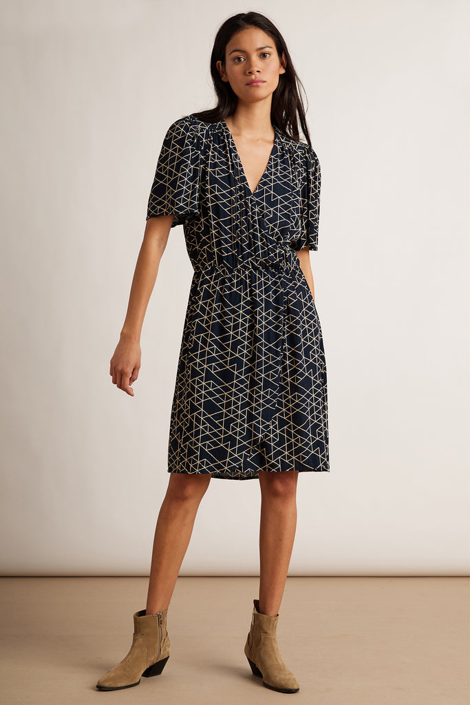 ADELLE QUILTED RAYON GAUZE DRESS IN NAVY