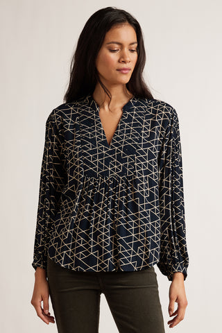 VIVIAN QUILTED RAYON GAUZE BLOUSE IN NAVY