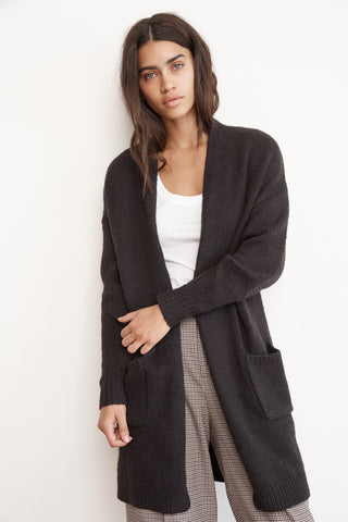 DELINA COTTON BLEND LONG CARDIGAN IN BLACK
