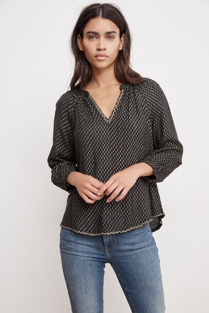 MILLA GOLD PRINTED POPOVER BLOUSE IN MULTI