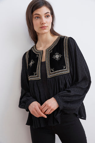 NIXI EMBELLISHED DRAPE JACKET IN BLACK