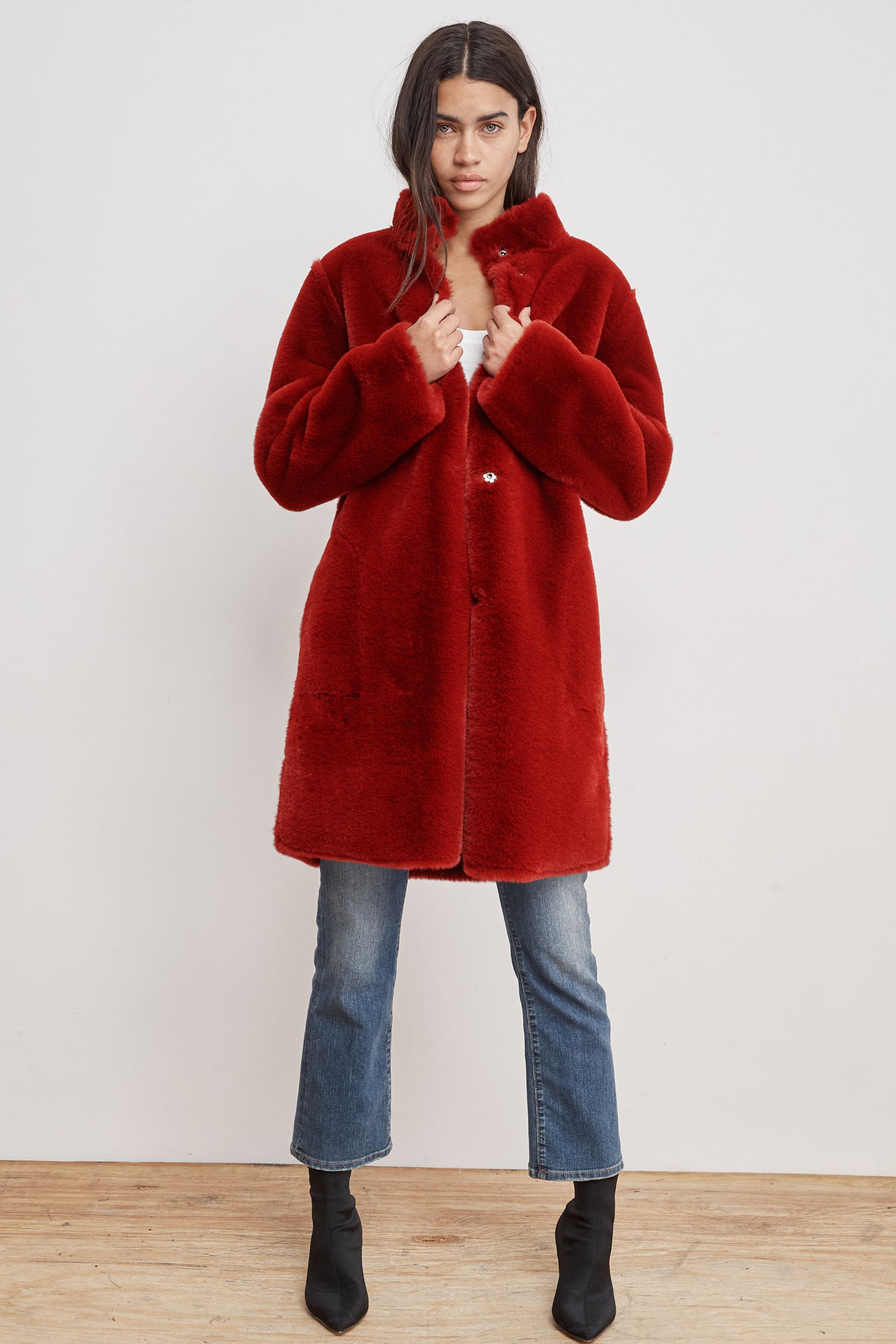 MINA LUX FAUX FUR REVERSIBLE JACKET IN RED
