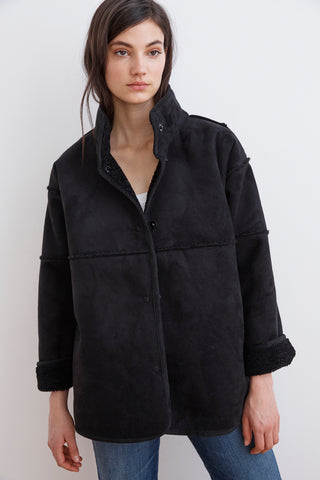 ALBANY REVERSIBLE LUX SHERPA MOCK NECK COAT IN BLACK