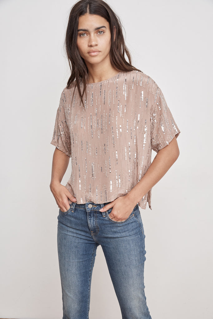 BRIGHTON RAIN DROP SEQUINS TOP IN DEEP TAUPE