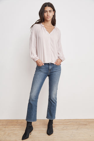 ELLA RAYON CHALLIS PEASANT TOP IN BISQUE