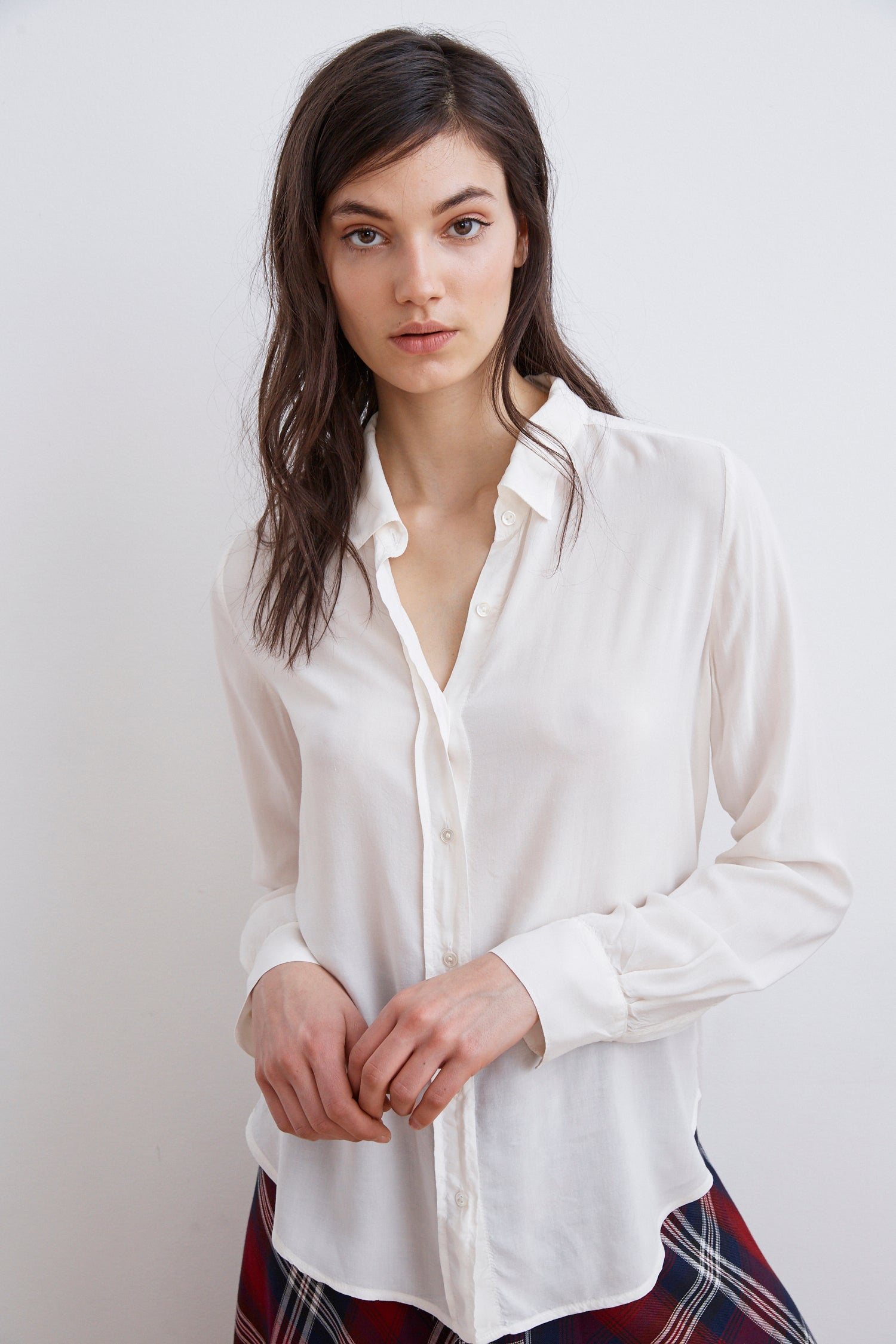 MELBA RAYON CHALLIS BUTTON UP SHIRT IN WINTER