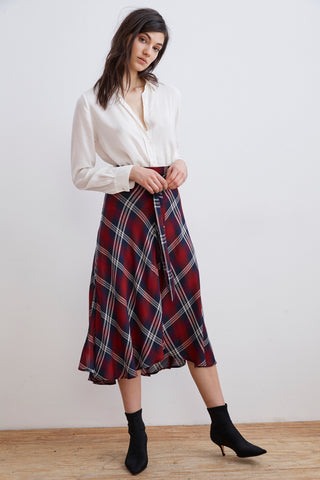 CALLEN PLAID HIGH/LOW SKIRT IN MULTI