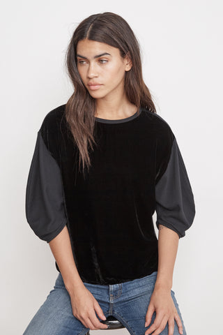 BERTA VELVET FLEECE PUFF SLEEVE TOP IN BLACK