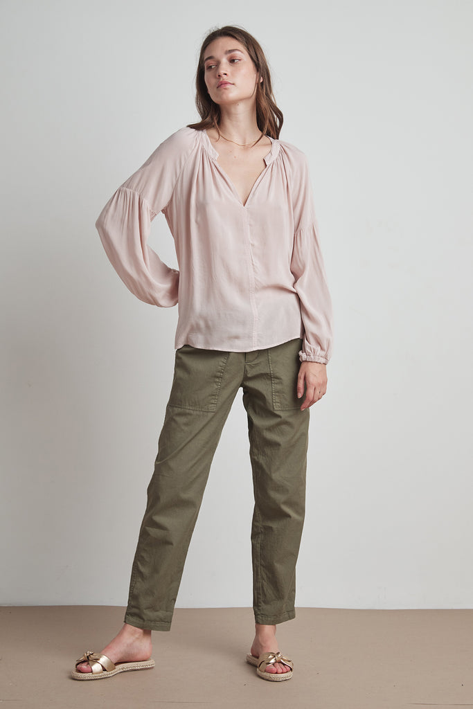 ELAINE RAYON CHALLIS LONG SLEEVE PEASANT TOP IN PETAL