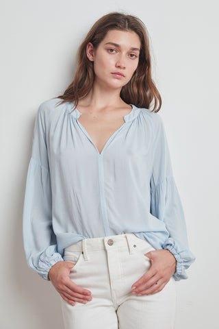 ELAINE RAYON CHALLIS LONG SLEEVE PEASANT TOP IN BILLOW