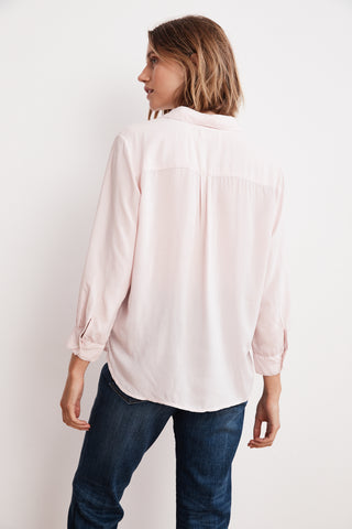 ELIZA RAYON CHALLIS COLLARED BLOUSE IN PALE PINK