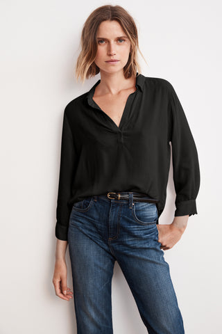 ELIZA RAYON CHALLIS COLLARED BLOUSE IN BLACK